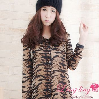 【lingling中大尺碼】斑馬紋皮領鉚釘襯衫(率性咖)A1269