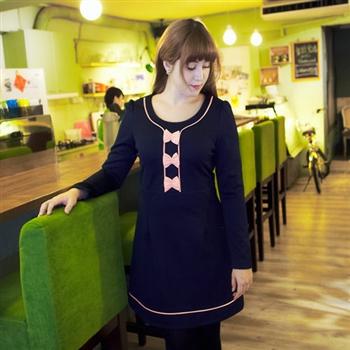 中大尺碼洋裝☆【2279】 可愛粉色蝴蝶結裝飾修身小A字洋裝預購
