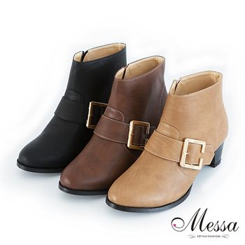 Messa MIT率性皮帶金屬飾釦高跟裸靴三色