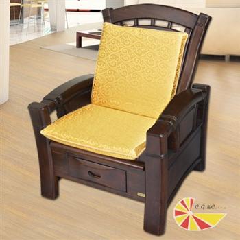 【凱蕾絲帝】木椅通~高支撐加厚連體L型坐墊(6入)-富貴金