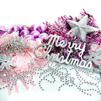 聖誕裝飾配件包組合-銀紫色系-7呎樹適用(不含聖誕樹 不含燈)