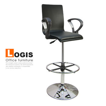 【LOGIS】020BOXA炫鋒曲木扶手高腳事務椅/電腦椅/吧台椅(3色)