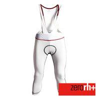 ZERORH+ 刷毛保暖吊帶七分自行車褲(男)-白/黑款
