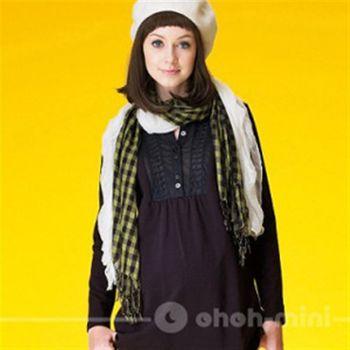 【ohoh-mini】孕婦裝系列-簡約修飾款襯衫式孕婦棉T孕婦洋裝