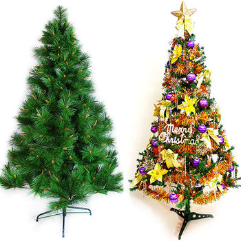 台灣製10尺特級松針葉聖誕樹+金紫色系配件(不含燈)