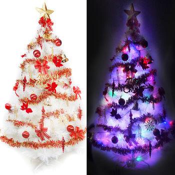 台製10呎特級白色松針葉聖誕樹紅金色系配件+100燈LED燈6串