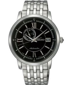 【SEIKO】4R37 偏心系列機械腕錶-黑/銀