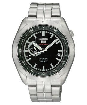 【SEIKO】4R37 偏心時尚機械腕錶-黑/銀