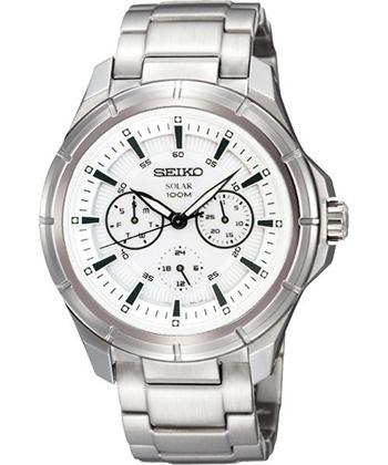【SEIKO】Criteria 三環日曆時尚腕錶-白/銀