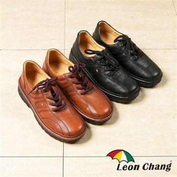 Leon Chang 頂級全牛皮綁帶式氣墊休閒鞋