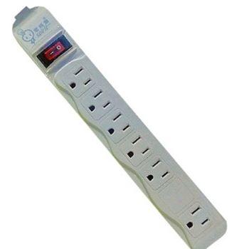 【電精靈】單切平貼式3孔6座延長線15尺(4.5米)