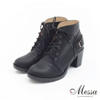 Messa(MIT)韓系復古感釦飾綁帶短靴-黑色