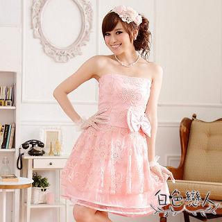 【白色戀人中大尺碼】粉色刺鏽蝴蝶結公主裙平口小禮服JK-0813