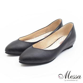 Messa(MIT)極簡風尚素面內真皮尖頭低跟包鞋-黑色