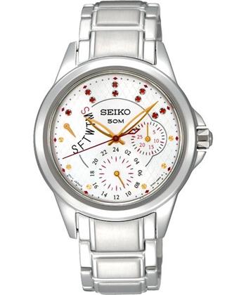 【SEIKO】Criteria 夢想星空晶鑽全日曆腕錶-白/銀