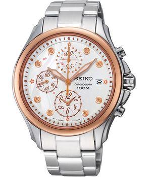 【SEIKO】Criteria 繁華星空浪漫計時腕錶-銀X玫塊金框