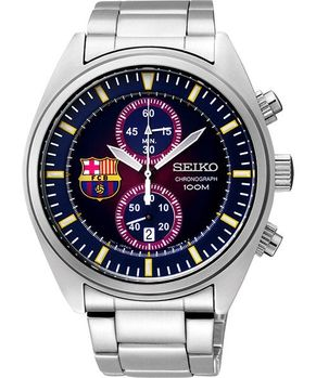 【SEIKO】FCB 巴塞隆納足球指定計時腕錶-紫/銀