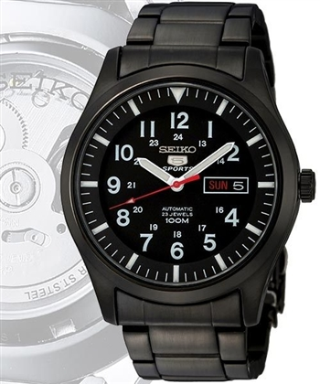 SEIKO 光明戰記五號23石機械腕錶(SNZG17J1)-IP黑