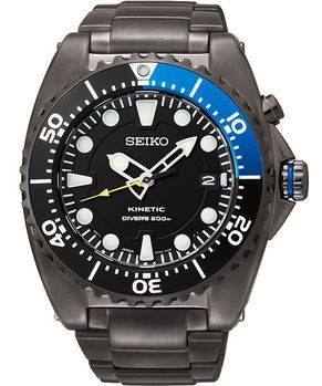 【SEIKO】Kinetic 怒海征服者潛水200米腕錶-黑X藍