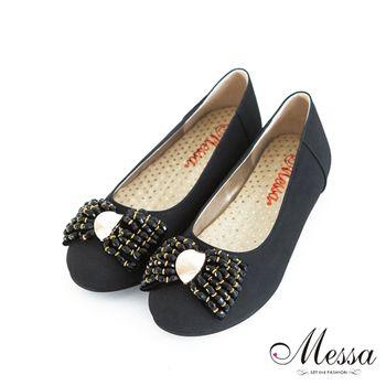 Messa(MIT) 閃耀五金飾釦環蝴蝶結內真皮平底包鞋-黑色