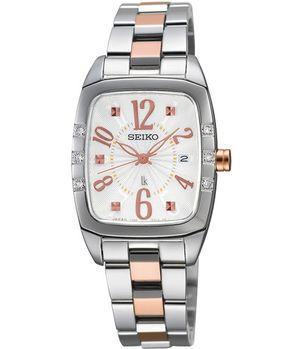 【SEIKO】 LUKIA 光采自我酒桶型真鑽腕錶-半金