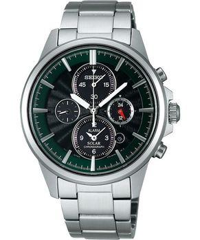 SEIKO 王者之劍太陽能鬧鈴兩地時間腕錶(V174-0AA0G)