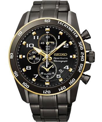 SEIKO 鬧鈴二地時區計時腕錶-IP黑 7T62-0LC0SD