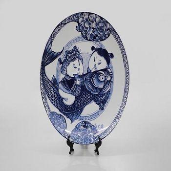 【青花皇后楊莉莉】富貴有魚-12吋瓷盤畫