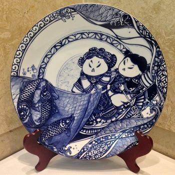 【青花皇后楊莉莉】滿載而歸-12吋瓷盤畫