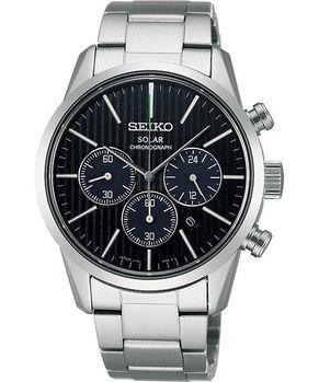 SEIKO 時尚玩家計時腕錶-黑/銀 V175-0BJ0D