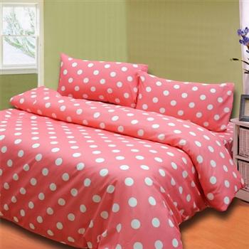 【KOSNEY】 粉彩點點 雙人六件式舖棉兩用被床罩組-台灣製造