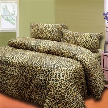 【KOSNEY】 豹紋金 雙人六件式舖棉兩用被床罩組-台灣製造