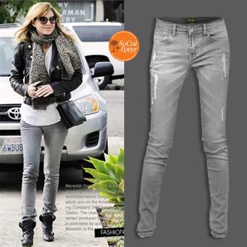SCL南加州丹寧時尚-灰色時尚破洞窄管牛仔褲