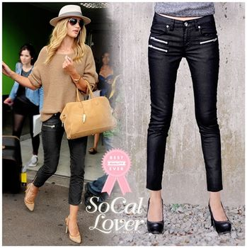 SCL南加州丹寧時尚-黑色亮漆機車牛仔褲
