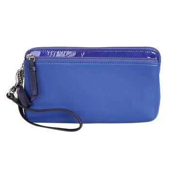 COACH 皮革手拿包/長夾-藍