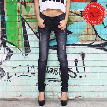 SCL南加州丹寧時尚-搖滾黑破洞窄管牛仔褲