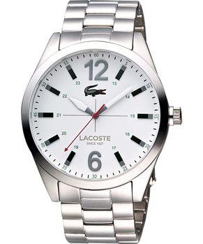 【Lacoste】十字鏢靶時尚大三針腕錶-白/銀 L2010697