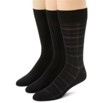 Calvin Klein 2014男時尚黑色細纖維窗格中統襪3入組