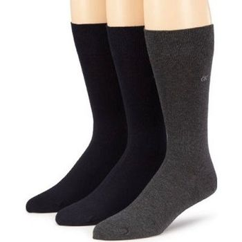 Calvin Klein 2014男時尚石墨深藍針織中統襪3入組