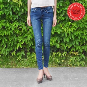 SCL南加州丹寧時尚-海闊藍九分丹寧窄管牛仔褲