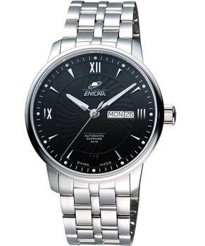 ENICAR 光輝時刻經典機械腕錶-黑/銀 3168-50-351