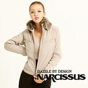 NARCISSUS  塑型記憶紗可拆式毛領 鋪棉短版防風夾克