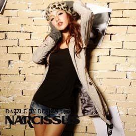 [NARCISSUS] 塑型記憶紗 雙排釦綁帶長風衣 淺灰