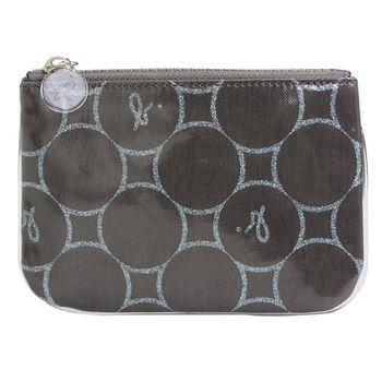 agnes b.  圈圈拉鍊化妝包(小)深鐵灰底/亮粉藍圈