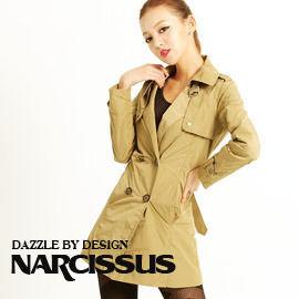 [ NARCISSUS ] 塑型記憶紗 雙排釦綁帶長風衣 駝色