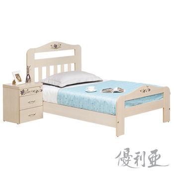 【優利亞】彩繪雲杉木色單人3.5尺床架+床頭櫃