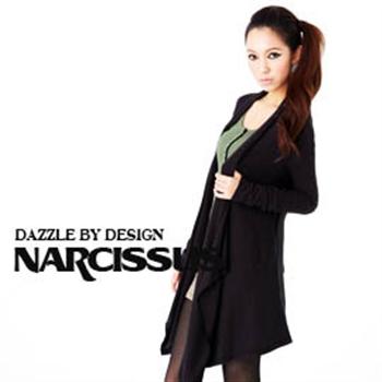 [NARCISSUS]MODAL莫代爾針織垂墜式長版罩衫附腰帶黑色