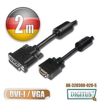 曜兆DIGITUSDVI-I轉VGA*2公尺圓線(公-公)