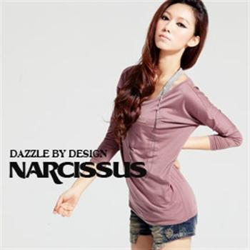 [NARCISSUS]天絲棉TENCEL七分飛鼠袖寬領口袋T 紫褐
