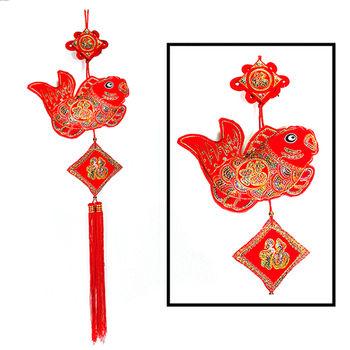 【農曆春節新年】喜氣植絨亮片魚串吊飾 掛飾